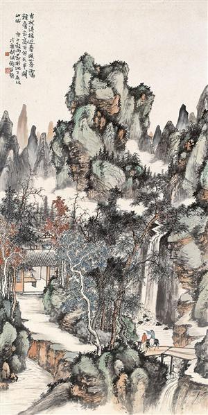 深山行旅 立轴 设色纸本 - 116692 - 名家书画·油画专场 - 2006夏季书画艺术品拍卖会 -收藏网