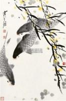 三鱼图 立轴 设色纸本 -  - 国画 陶瓷 玉器 - 2010秋季艺术品拍卖会 -收藏网