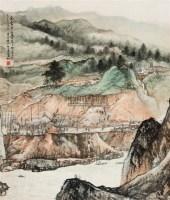 工地纪实 镜片 设色纸本 - 何海霞 - 中国书画(二) - 2010年秋季艺术品拍卖会 -收藏网