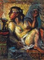 吹油灯 纸本油画 - 罗中立 - 中国油画  - 2010年秋季艺术品拍卖会 -收藏网