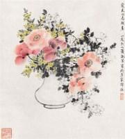 花卉 立轴 设色纸本 - 4387 - 中国书画夜场 - 2010秋季艺术品拍卖会 -收藏网