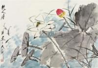 荷花 镜框 设色纸本 - 117343 - 中国书画五 - 2010秋季艺术品拍卖会 -收藏网