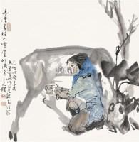 饲鹿图 立轴 设色纸本 - 于志学 - 中国书画(二) - 2010年秋季艺术品拍卖会 -中国收藏网