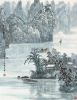 漓江春雨 立轴 设色纸本 - 苗重安 - 中国书画(二) - 2010年秋季艺术品拍卖会 -收藏网