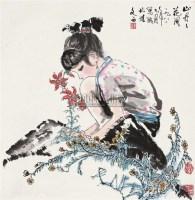 山丹丹 立轴 设色纸本 - 115997 - 中国书画(二) - 2010年秋季艺术品拍卖会 -收藏网