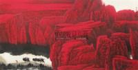"""戈壁驼铃 镜片 设色纸本 - 周尊圣 - 中国书画 - 2010""""清花岁月""""冬季大型艺术品拍卖会 -收藏网"""