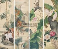 花鸟 (四件) 四屏 绢本 - 刘奎龄 - 字画下午专场  - 2010年秋季大型艺术品拍卖会 -中国收藏网