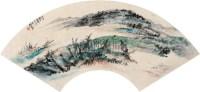 """荻水渔家 扇面 设色纸本 - 胡若思 - 中国扇画 - 2010秋季""""天津文物""""专场 -收藏网"""