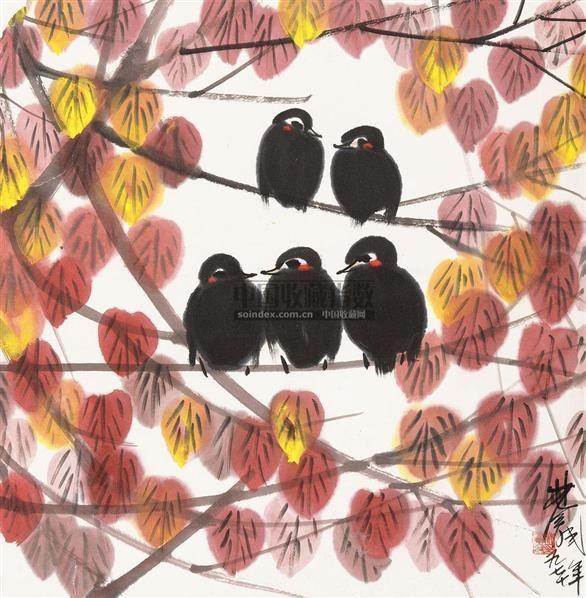 秋叶小鸟 立轴 纸本设色 - 116036 - 中国近现代书画  - 2010秋季艺术品拍卖会 -收藏网