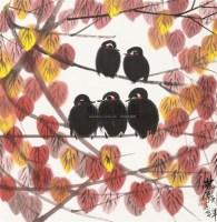秋叶小鸟 立轴 纸本设色 - 林风眠 - 中国近现代书画  - 2010秋季艺术品拍卖会 -中国收藏网