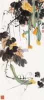 丝瓜小鸡 镜心 纸本设色 - 4003 - 中国当代书画 - 2010秋季艺术品拍卖会 -收藏网