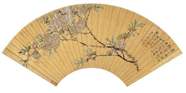 都  俞(?~1931)  海棠图 -  - 中国书画金笺扇面 - 2005年首届大型拍卖会 -收藏网