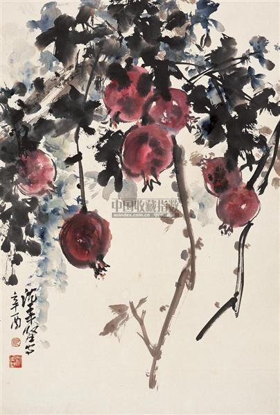 石榴 立轴 设色纸本 - 3964 - 中国书画 - 2010秋季艺术品拍卖会 -收藏网