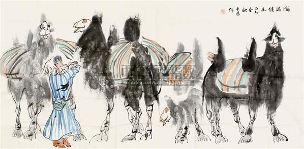 瀚海健足图 镜片 设色纸本 - 114744 - 国画 陶瓷 玉器 - 2010秋季艺术品拍卖会 -收藏网