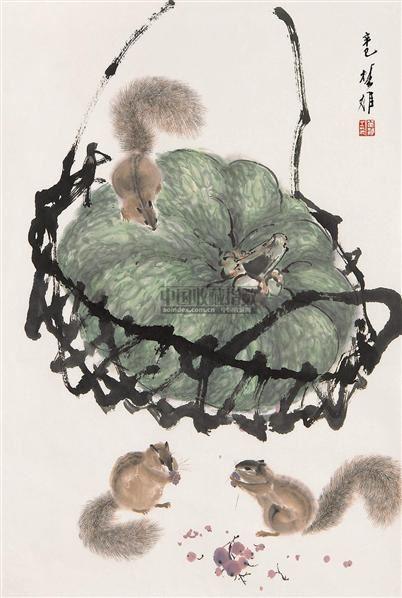 松鼠 镜心 设色纸本 - 117202 - 书画专场 - 2006年第2期精品拍卖会 -中国收藏网