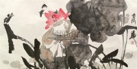 """映日荷花 镜片 设色纸本 - 张立辰 - 中国书画 - 2010""""清花岁月""""冬季大型艺术品拍卖会 -收藏网"""
