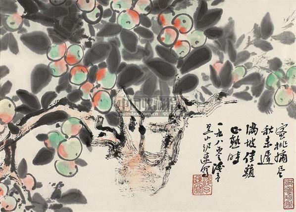 水蜜桃 镜心 设色纸本 - 4527 - 中国书画二·名家小品及书法专场 - 2010秋季艺术品拍卖会 -收藏网
