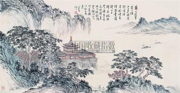 苍山的平林 镜片 设色纸本 - 1518 - 中国近现代书画(一) - 2010秋季艺术品拍卖会 -收藏网