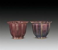 仿钧窑菱口花盆一对 -  - 瓷器 - 2010年秋季拍卖会 -中国收藏网
