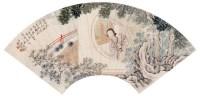 凭窗仕女 扇面 设色纸本 - 118897 - 名家书画·油画专场 - 2006夏季书画艺术品拍卖会 -收藏网