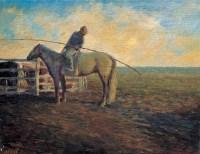 蒙古草原 布面 油画 - 龙力游 - 中国油画 - 第54期书画精品拍卖会 -收藏网
