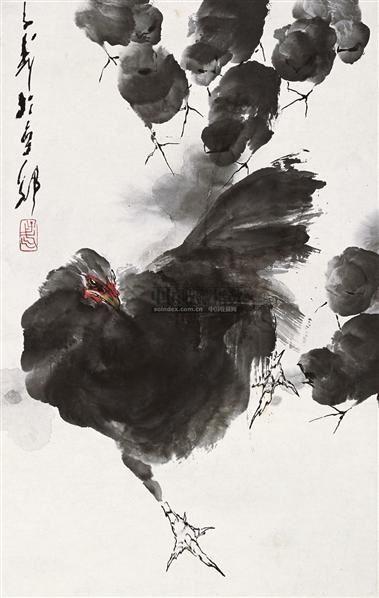 舞动 镜片 设色纸本 - 118173 - 中国书画 - 2010秋季艺术品拍卖会 -收藏网