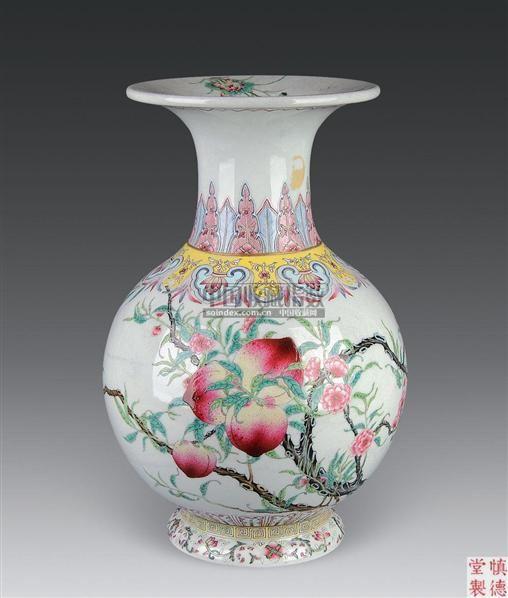 粉彩九桃瓶 -  - 古董珍玩 - 2010秋季艺术品拍卖会 -收藏网