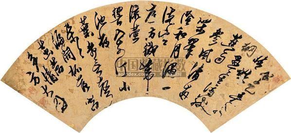 行草 (一件) 扇片 金笺 - 140732 - 字画上午专场  - 2010年秋季大型艺术品拍卖会 -收藏网