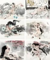 仕女 (十二幅) 镜心 设色纸本 - 傅小石 - 中国书画专场 - 2010年秋季艺术品拍卖会 -收藏网