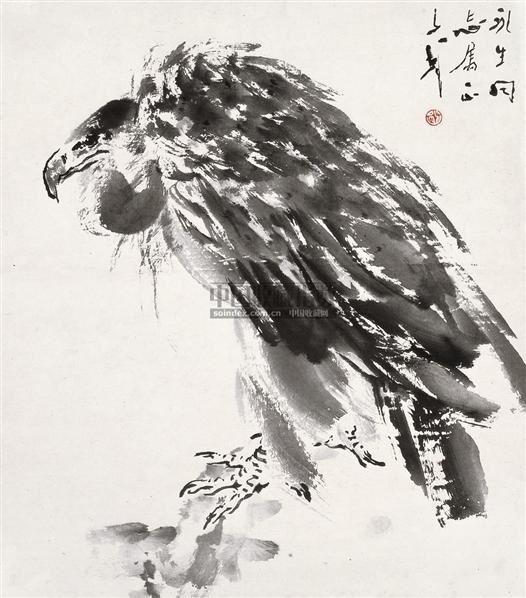 鹰 镜框 水墨纸本 - 118173 - 中国书画 - 2010秋季艺术品拍卖会 -收藏网