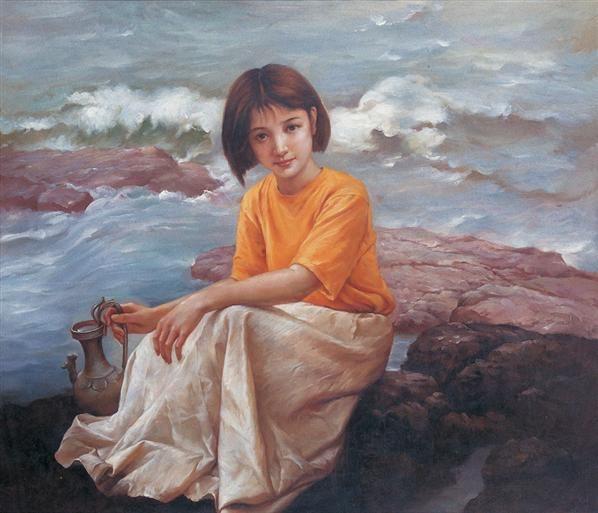 姜国芳 海边少女 - 4649 - 名家书画·油画专场 - 2006夏季书画艺术品