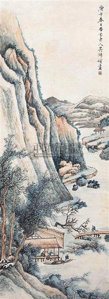山水人物 立轴 设色纸本 - 140116 - 中国书画 - 2006秋季书画艺术品拍卖会 -中国收藏网