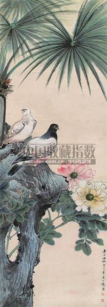和平鸽 立轴 设色纸本 - 148782 - 中国书画 - 第9期中国艺术品拍卖会 -收藏网