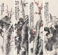四季花卉 (四件) 四屏 纸本 - 蒲华 - 字画下午专场  - 2010年秋季大型艺术品拍卖会 -收藏网