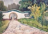 园林 纸本水彩 镜片 - 涂克 - 中国油画 - 第54期书画精品拍卖会 -收藏网