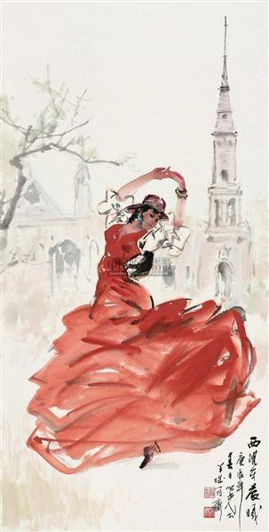西班牙晨曦 立轴 设色纸本 - 1356 - 中国书画四·当代书画 - 2010秋季艺术品拍卖会 -收藏网