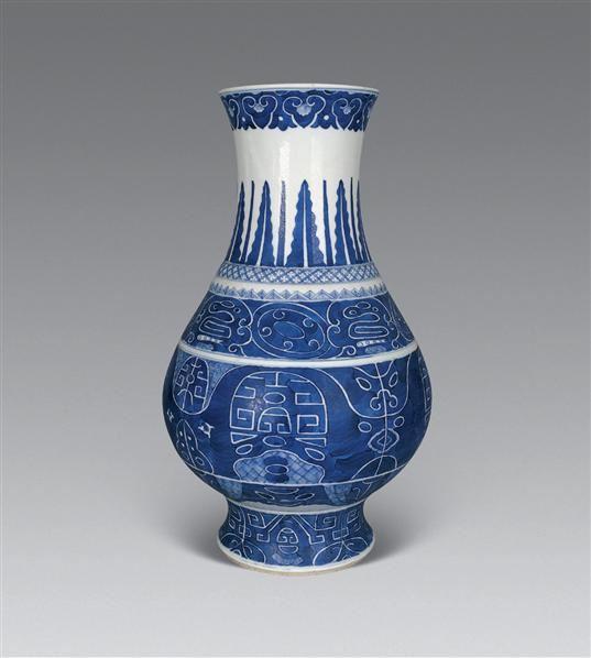 清光绪 青花兽面纹尊 -  - 瓷器工艺品(一) - 2006年第3期嘉德四季拍卖会 -收藏网