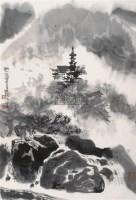 秋山萧寺图 镜片 水墨纸本 - 116015 - 中国书画一 - 2010年秋季艺术品拍卖会 -收藏网