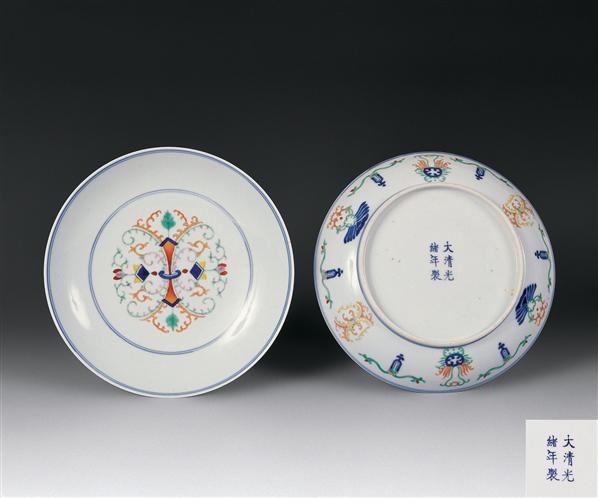 清光绪  青花五彩洋莲盘(一对) -  - 瓷器文玩 - 2006年瓷器文玩艺术品拍卖会 -中国收藏网