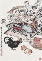 傣家小景图 立轴 设色纸本 - 程十发 - 中国书画一 - 2010年秋季艺术品拍卖会 -收藏网