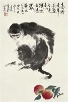 灵猴寿桃 镜心 设色纸本 - 5525 - 中国书画 - 2010年秋季拍卖会 -收藏网