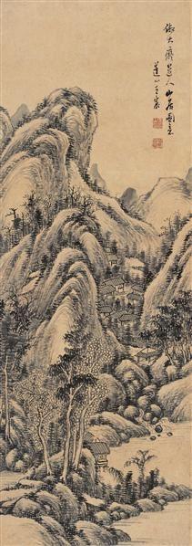 山水 立轴 墨色纸本 - 5289 - 扇画·古代书画专场 - 2006夏季书画艺术品拍卖会 -收藏网