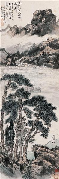 """松壑鸣泉 立轴 设色纸本 - 116692 - 中国书画 - 2010秋季""""天津文物""""专场 -收藏网"""