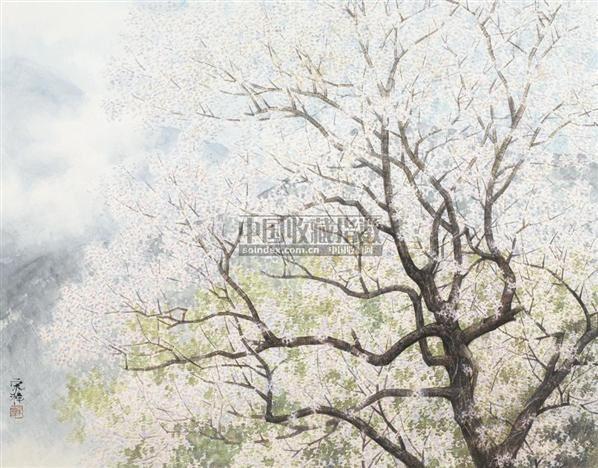 樱花 镜心 设色纸本 - 17370 - 中国书画(一) - 2006春季拍卖会 -中国收藏网