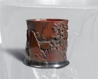 金丝楠木山水笔筒 -  - 文房清玩 历代名砚及案上雅玩专场 - 2008年秋季艺术品拍卖会 -收藏网