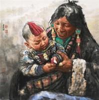 母子图 镜心 设色纸本 - 南海岩 - 中国书画(一) - 2010年秋季艺术品拍卖会 -收藏网