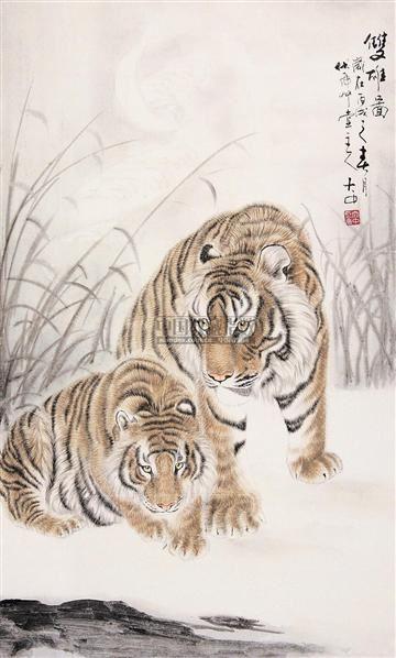 双雄图 镜片 纸本 - 6313 - 中国书画(下) - 2010瑞秋艺术品拍卖会 -收藏网