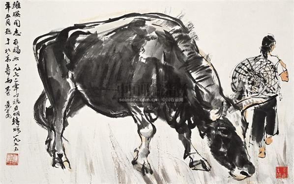 牧牛图 立轴 设色纸本 - 7693 - 中国书画一 - 2010秋季艺术品拍卖会 -收藏网