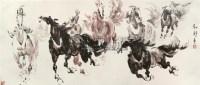 """八骏图 镜片 设色纸本 - 刘勃舒 - 中国书画 - 2010""""清花岁月""""冬季大型艺术品拍卖会 -收藏网"""