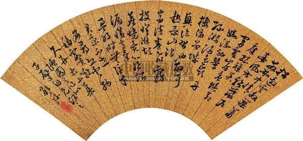 草书 (一件) 扇片 金笺 - 4127 - 字画上午专场  - 2010年秋季大型艺术品拍卖会 -收藏网